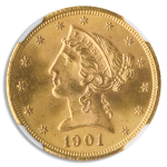 1901/0-S $5 Liberty NGC  MS65 CAC