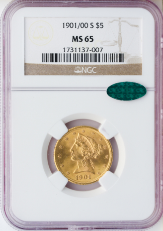 1901/0-S $5 Liberty NGC  MS65 CAC