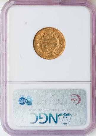1866 $3 Indian Princess NGC AU55