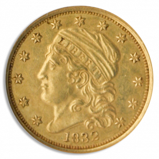 1832 $2 1/2 Capped Bust Small Diameter NGC AU58