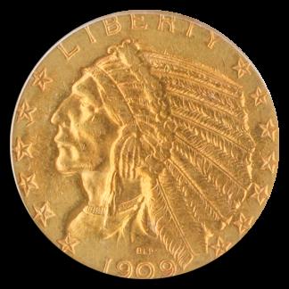 1909-O $5 Indian PCGS AU55