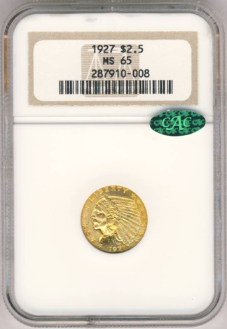1927 $2 1/2 Indian NGC MS65 CAC