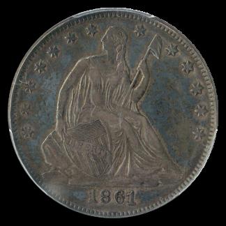 1861 CSA Seated Liberty Half Restrike PCGS AU58 CAC