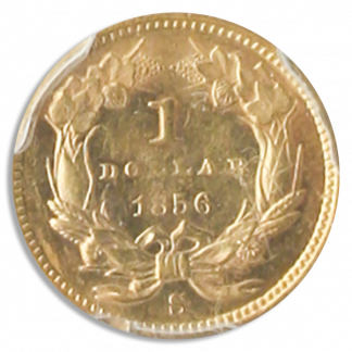 1856-S Ty II Gold $1 SSCA POD PCGS MS61