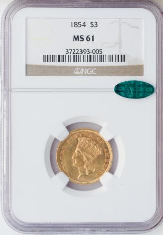 1854 $3 Indian Princess NGC MS61 CAC