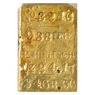 HENTSCH GLD BAR SSCA # 3246 PCGS24.17 oz..938 Fine $468.66