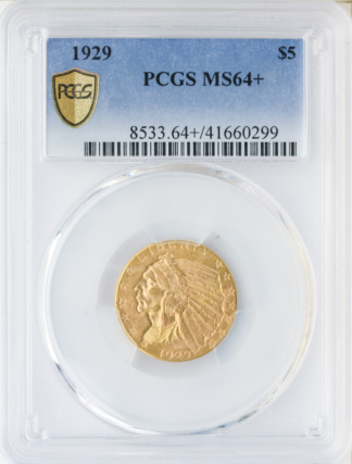 1929 $5 Indian PCGS MS64 +