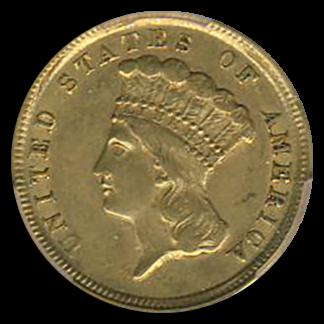 1854-D $3 Indian Princess PCGS AU55 CAC