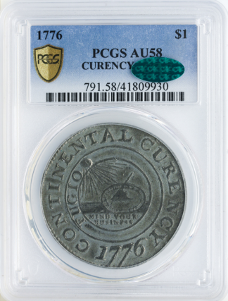 1776 Continental $1 CURENCY PCGS AU58 CAC