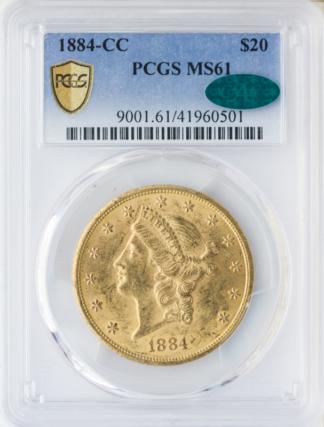 1884-CC $20 Liberty PCGS MS61 CAC