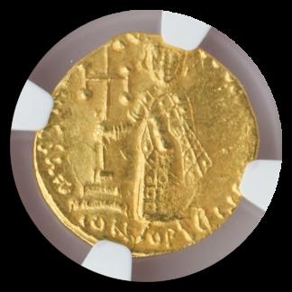 Byzantine Empire Justinian II AV Solidus Christ with Cross NGC MS Str:3 Srf:4 4.0g