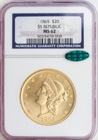 1865 $20 Liberty S.S. Republic NGC MS62 CAC