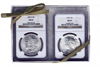 Morgan and Peace $1 Set NGC MS63