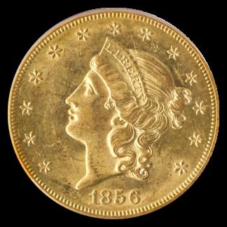 1856-S $20 Liberty SSCA SPLTS PCGS AU58 CAC
