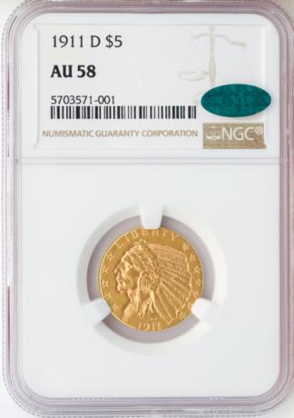 1911-D $5 Indian NGC AU58 CAC