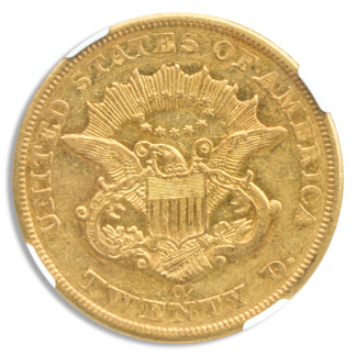 1851-O $20 Liberty Gold Coin NGC About Uncirculated 50(AU50)