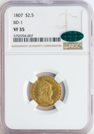 1807 $2 1/2 Draped Bust With Stars NGC VF35 CAC