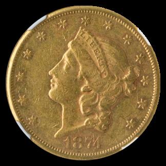 1874-CC $20 Liberty NGC AU53