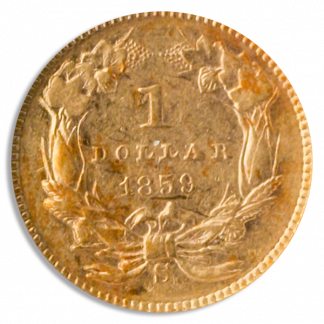 1859-S $1 Gold NGC AU55