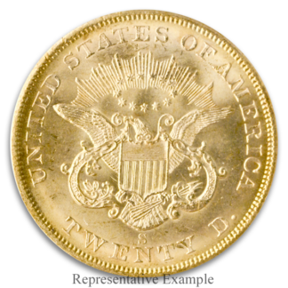 1857-S $20 Liberty S.S. Central America PCGS MS64