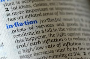 Close up of dictionary definition of inflation