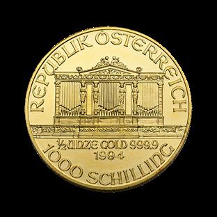 1/2 oz Austrian Gold Philharmonic Coin (BU, Dates Vary)