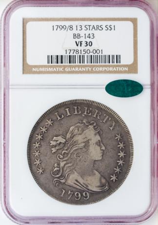 1799/8 Draped Bust 13 Star $1 PCGS VF30 CAC