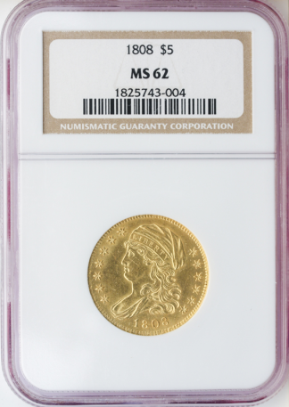 1808 $5 Capped Bust NGC MS62