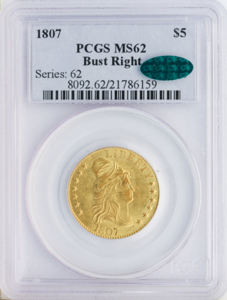 1807 Draped BUst Right PCGS MS62 CAC