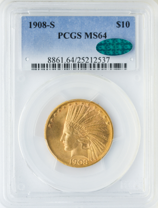 1908-S $10 Indian PCGS MS64 CAC