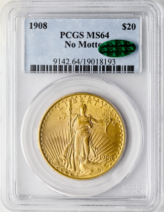 $20 ST GAUDENS N/M CERTIFIED MS64 CAC