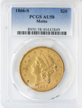 1866-S $20 Liberty With Motto PCGS AU58