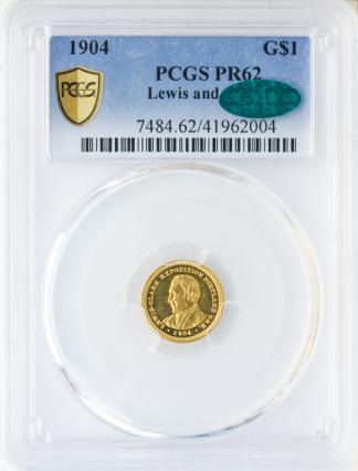 1904 $1 Lewis and Clark Gold Commemorative PCGS PR62 CAC