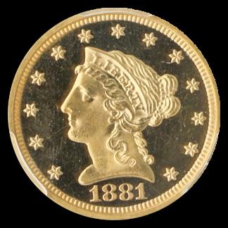 1881 $2.50 Liberty PCGS PR65 Deep Cameo CAC