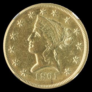 1861 $10 Clark Gruber Colorado Territorial NGC AU50