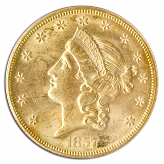 1857-S $20 Liberty SSCA PCGS AU58