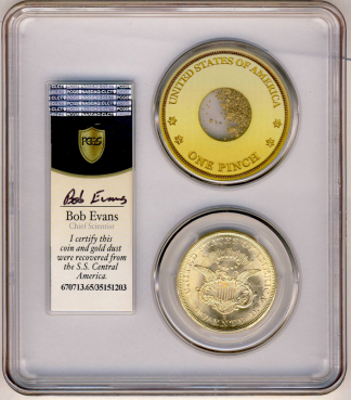 1857-S $20 Liberty SSCA Pinch Of Dust PCGS MS65