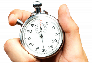 image of hand holding a stopwatch