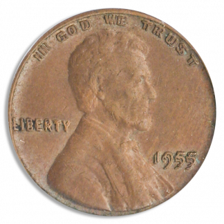 1955 Lincoln Cent Double Die Obverse PCGS AU55 Brown CAC