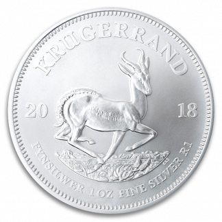 1 oz South African Silver Krugerrand Coin (BU, Dates Vary)