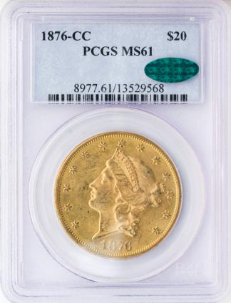 1876-CC $20 Liberty PCGS MS61 CAC