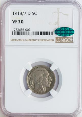 1918/17 Buffalo Nickel NGC VF20 CAC