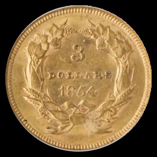 1854 $3 Indian Princess PCGS AU58