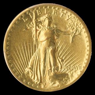 1907 $20 Saint Gaudens High Relief Flat Edge PCGS XF0 CAC