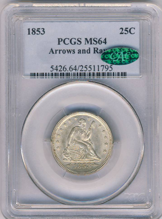 1853 Seated Liberty Quarter Arrows and Rays PCGS MS64 CAC