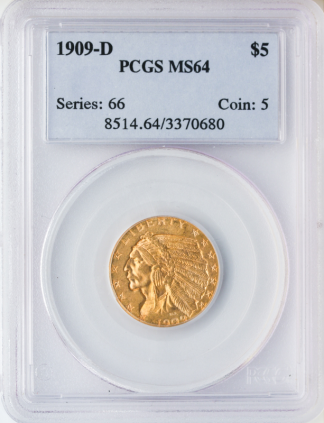 $5 Indian MS64 Certified
