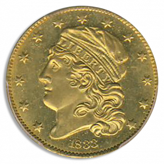 1833 $5 Capped Bust Small Date PCGS MS64 CAC +