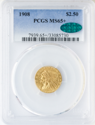 1908 $2 1/2 Indian PCGS MS65 CAC +