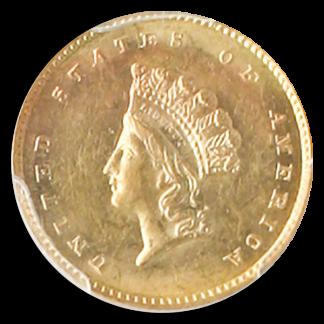 1856-S Gold $1 Type II SSCA POD PCGS MS62 +