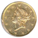 1851 $1 Gold SSCA Pinch Of Dust PCGS AU58